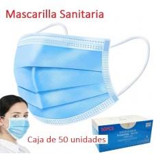 Mascarilla Sanitaria desechable diaria 3 capas transpirable - caja de 50 unidades